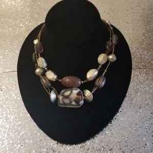 Animal Patter Beaded Station Multi Strand Necklace